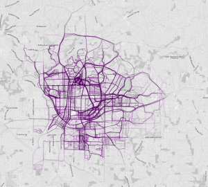 Flowing Data's map of running paths in Atlanta